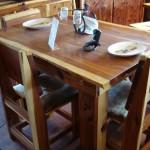 DTC4CCC-Dining Table Cedar-4 Cedar Chairs-Cowhide Seats
