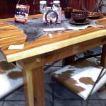 DTC4HCC-Dining Table-Cedar-4 Horseshoe Chairs-Cowhide Seats