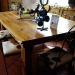 DTC6HCC-Dining Table-Cedar-6 Horseshoe Chairs-Cowhide Seats