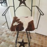 BCASCHS-Bar Chair with Arms-Star Back-Cowhide Seat-$185, Shipping $45